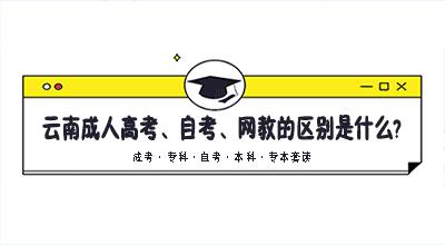 云南成人高考、自考、网教的区别是什么?